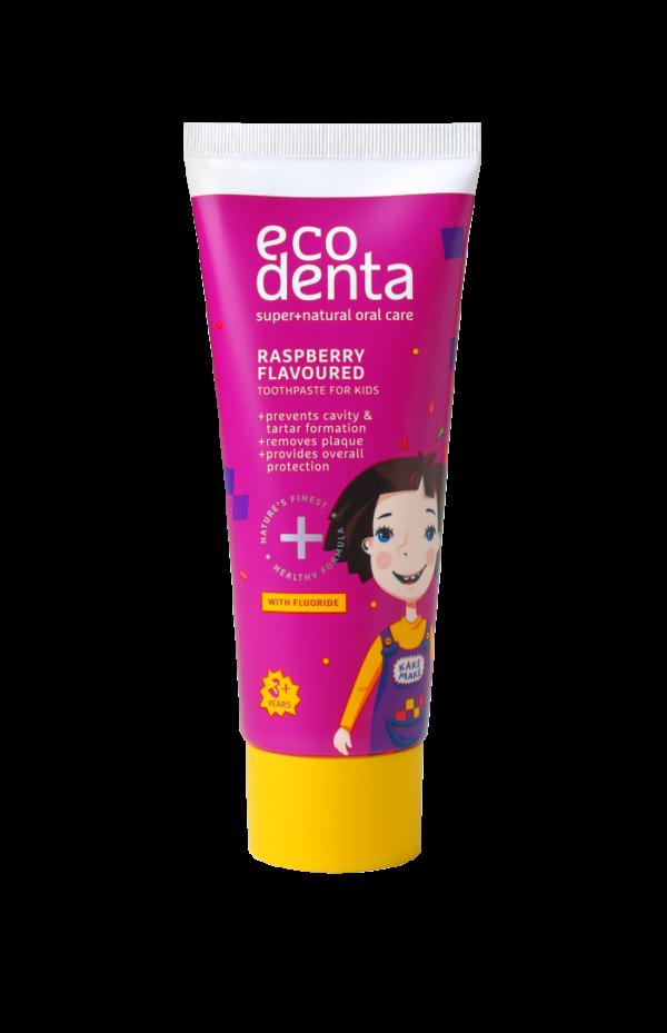 Pasta de dinti pentru copii impotriva cariilor cu aroma de zmeura, Ecodenta, 75 ml