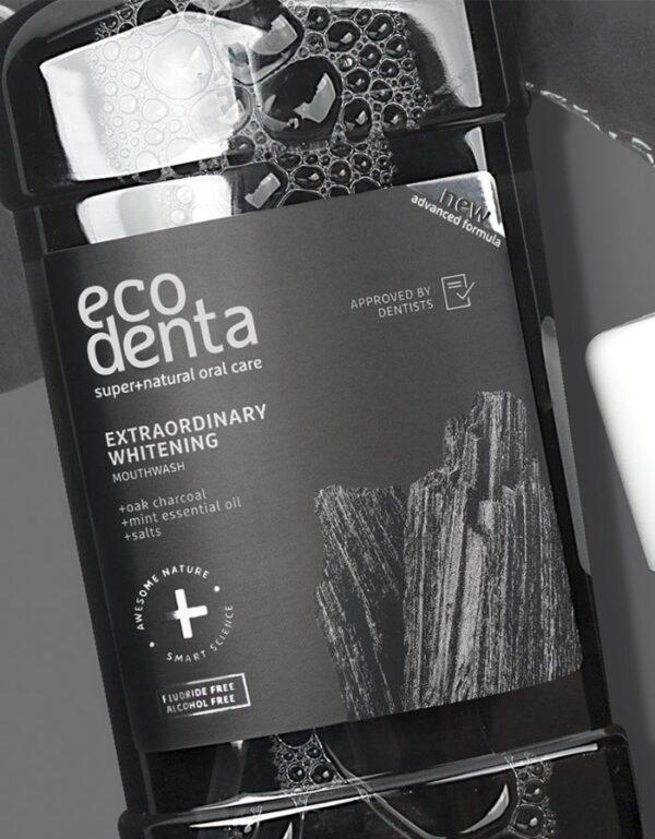 Apa de gura fara fluor pentru extra albire cu carbune, Ecodenta, 500 ml