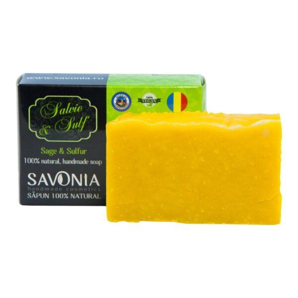 Sapun natural cu Salvie si Sulf, Savonia, 90g