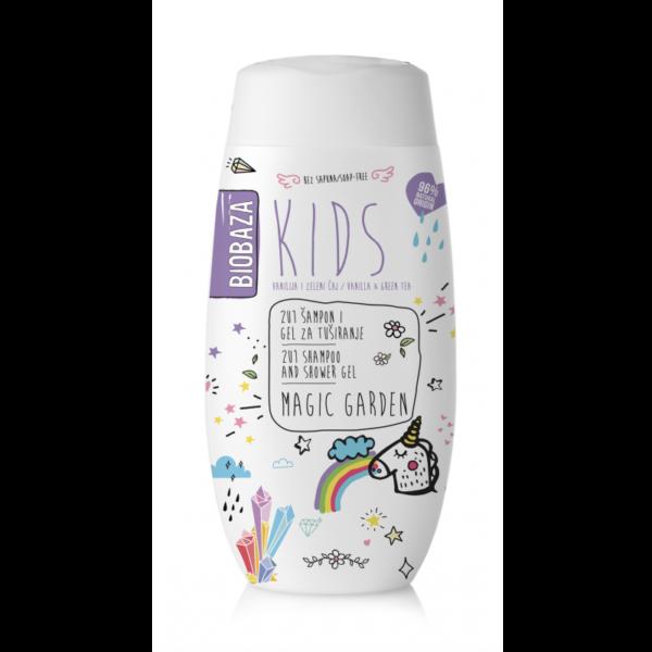 Sampon & gel de dus natural pentru copii Magic Garden, Biobaza, 250 ml