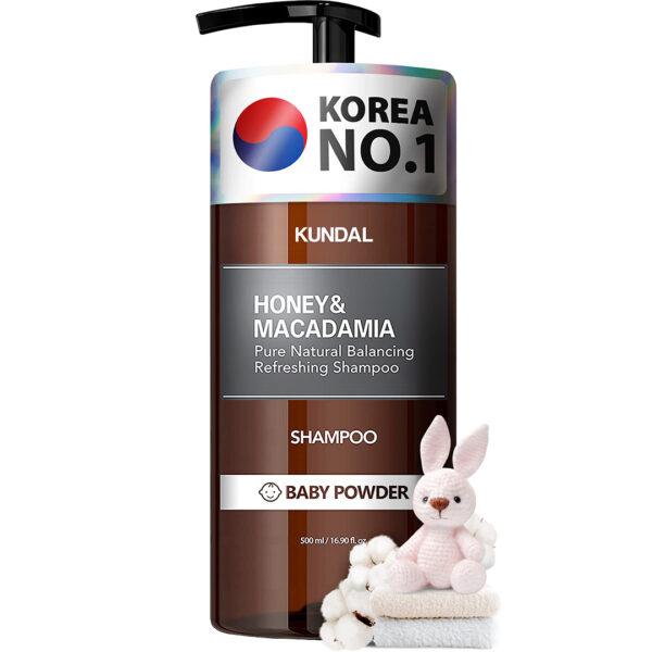 Sampon hipoalergenic natural si extra-hidratant, cu miere si macadamia, Baby Powder, Kundal, 500 ml