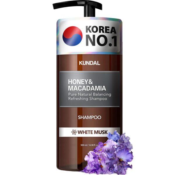 Sampon hipoalergenic natural si extra-hidratant, cu miere si macadamia, White Musk, Kundal, 500 ml