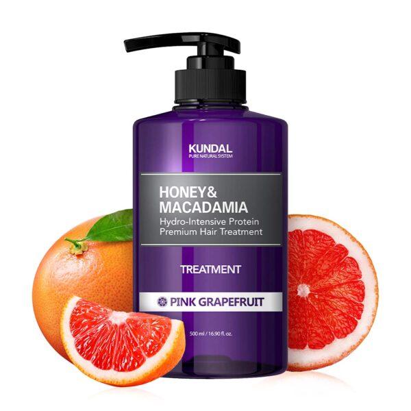 Tratament hipoalergenic pentru par, extra-hidratant cu proteine, Pink Grapefruit, Kundal, 500 ml
