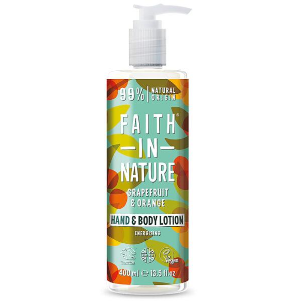 Lotiune vegana pentru corp si maini cu grapefruit si portocala, Faith in Nature, 400 ml