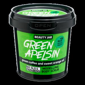 Scrub modelator pentru corp, cu cafea verde si ulei de portocala, Gree...