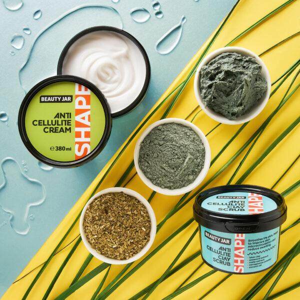Argila exfolianta anticelulitica cu extract de alge si mate, Shape Line, Beauty Jar, 380g