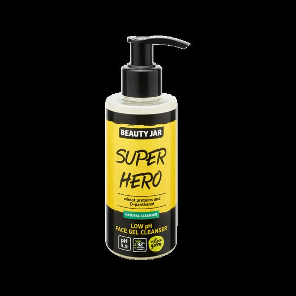 Gel pentru curatare faciala cu PH scazut si proteine din grau, Super Hero, Beauty Jar, 150 ml