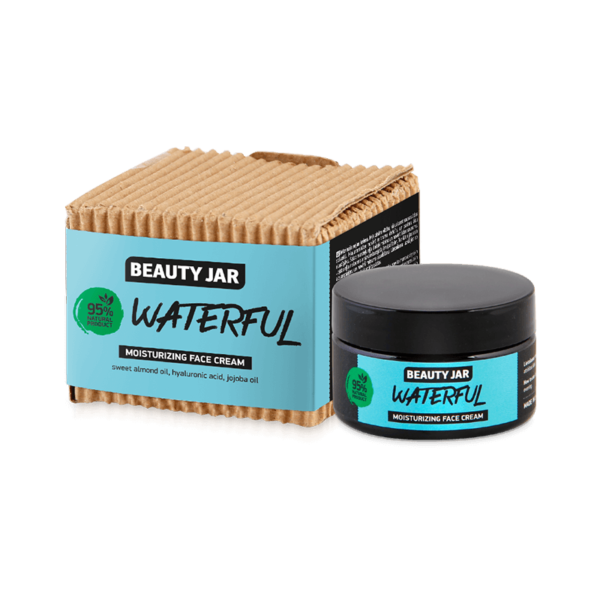 Crema hidratanta pentru fata, cu acid hialuronic si ulei de migdale dulci, Waterful, Beauty Jar, 60 ml