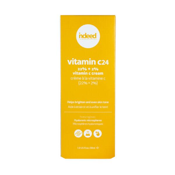 Crema pentru fata cu 22% vitanima C + 2% acid hialuronic, Indeed Labs, 30 ml
