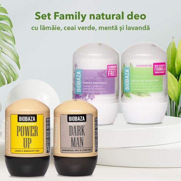 Set Family natural deo cu Lamaie, Ceai verde, Menta si Lavanda, 4 pcs