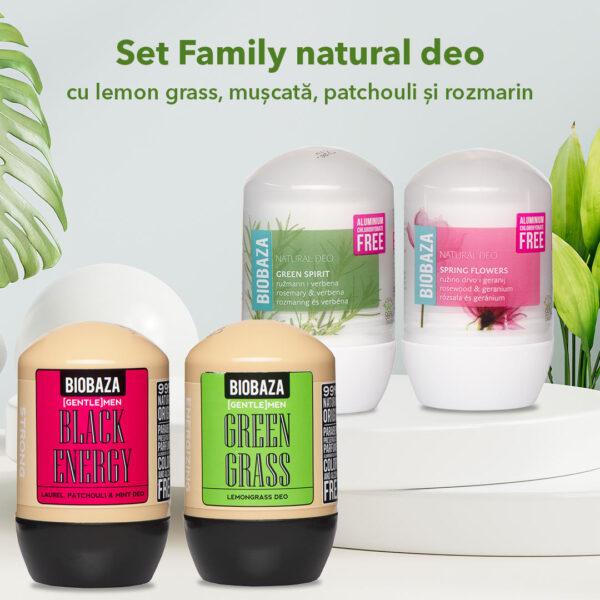 Set Family natural deo cu Lemon Grass, Muscata, patchouli si rozmarin 4 pcs