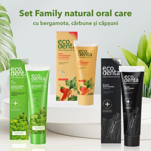 Set Family natural oral care cu Bergamota, Carbune si Capsuni, 3 pcs