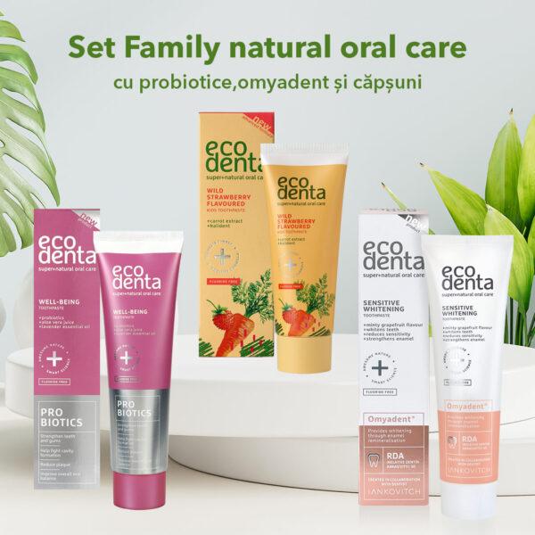 Set Family natural oral care cu Probiotice si Omyadent 3 pcs.